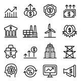 Mercado de acción y iconos de la bolsa de acción Fotos de archivo libres de regalías