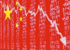 Mercado de acción chino abajo Foto de archivo libre de regalías