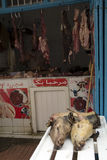Mercado de carne, Marrocos carniceiro imagem de stock royalty free