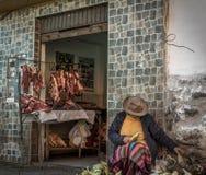 Mercado de carne peruano fotos de archivo