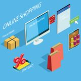 Mercado de compra em linha ilustração do vetor