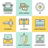Mercado de Digitas e ícones lisos da otimização do seo Foto de Stock Royalty Free