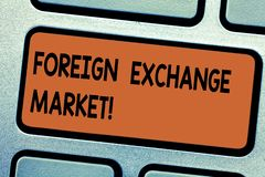 Mercado de divisas del texto de la escritura de la palabra Concepto del negocio para el comercio descentralizado global de la lla stock de ilustración