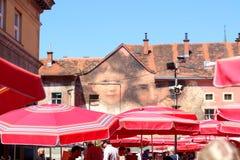 Mercado de Dolac, Zagreb, Croacia foto de archivo libre de regalías