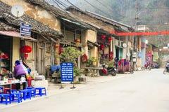 Mercado de Dong Van los pueblos de Hmong situados en Dong Van District, Dong Van Foto de archivo