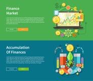 Mercado de finança e acumulação de finanças ilustração do vetor