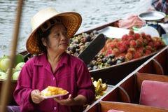 Mercado de flutuação, Damnoen Saduak, Tailândia Imagem de Stock
