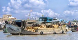 Mercado de flutuação de Cai Rang no Mekong River Imagens de Stock Royalty Free
