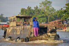 Mercado de flutuação, delta de Mekong, Can Tho, Vietname Fotografia de Stock