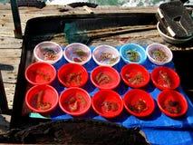 Mercado de flutuação do marisco, baía de Halong, Vietname Imagens de Stock Royalty Free