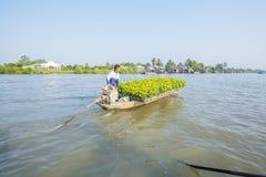 Mercado de flutuação em estradas transversaas das sete-maneiras (baía de Nga), Hau Giang de Phung Hiep Foto de Stock Royalty Free