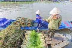 Mercado de flutuação em estradas transversaas das sete-maneiras (baía de Nga), Hau Giang de Phung Hiep Fotografia de Stock Royalty Free