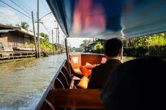 Mercado de flutuação de Tailândia O mercado tradicional na água em Banguecoque fotografia de stock