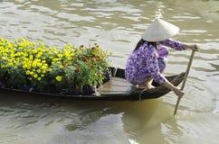 Mercado de flutuação Vietname de Soctrang Fotografia de Stock