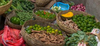 Mercado de frutas e legumes na Índia foto de stock royalty free