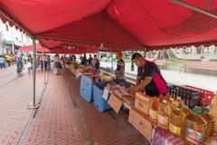Mercado de la comida en el parque ciudad de Panamá de la anecdotario del santo fotos de archivo
