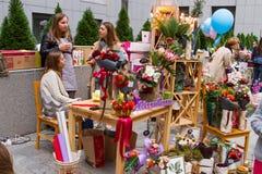 Mercado de la flor de Kiev - la primera flor de la ciudad justa en Kiev, Ucrania 18 de septiembre de 2016 Imagen de archivo libre de regalías