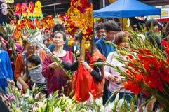 Mercado de la flor del Año Nuevo Fotos de archivo libres de regalías