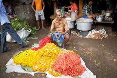 Mercado de la flor, Kolkata, la India Foto de archivo