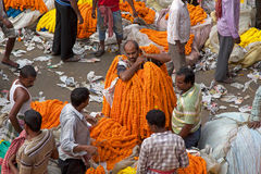 Mercado de la flor, Kolkata, la India Fotos de archivo