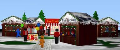 Mercado de la Navidad con las figuras al día Panorama Imágenes de archivo libres de regalías