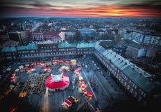 Mercado de la Navidad de Szeged desde arriba Fotografía aérea en la puesta del sol Fotografía de archivo libre de regalías