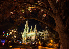 Mercado de la Navidad en ayuntamiento Viena en Rathausplatz, Austria, Europa fotos de archivo libres de regalías