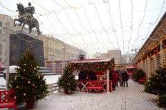 Mercado de la Navidad en el carril de Stoleshnikov Imágenes de archivo libres de regalías