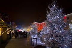 Mercado de la Navidad en el cuadrado de Gradec en Zagreb Fotografía de archivo