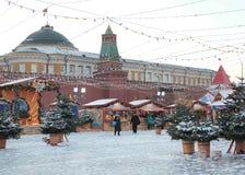 Mercado de la Navidad en la Plaza Roja, Moscú Fotografía de archivo libre de regalías
