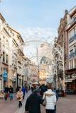 Mercado de la Navidad en Mulhouse Rue Merciere Fotografía de archivo