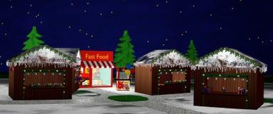 Mercado de la Navidad en la noche Panorama Fotografía de archivo libre de regalías