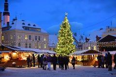 Mercado de la Navidad en Tallinn Fotografía de archivo