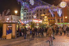 Mercado de la Navidad en Wroclaw, Polonia Fotografía de archivo libre de regalías