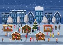Mercado de la Navidad o feria al aire libre del día de fiesta en la plaza Árbol de navidad Gente que camina entre las paradas ado ilustración del vector