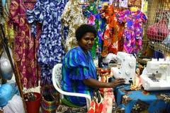 Mercado de las mujeres en el chalet portuario, Vanuatu Fotos de archivo libres de regalías
