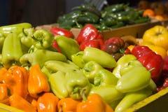 Mercado de los granjeros - pimientas Foto de archivo libre de regalías
