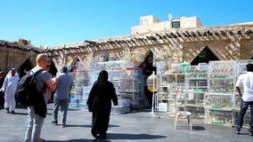 Mercado de los pájaros de Souq Waqif en Doha, Qatar almacen de metraje de vídeo
