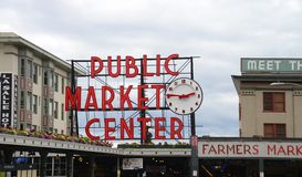 Mercado de lugar de Pike Seattle céntrica Imágenes de archivo libres de regalías