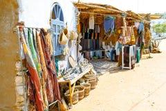 Mercado de Nubian Recuerdos en un pueblo de Nubian en Egipto Imagen de archivo libre de regalías