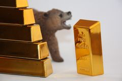 Mercado de ouro Bearish foto de stock royalty free