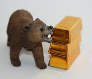 Mercado de ouro Bearish fotografia de stock