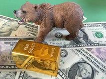 Mercado de ouro Bearish fotografia de stock royalty free
