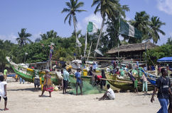 Mercado de peixes africano pobre Imagem de Stock