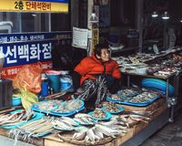 Mercado de pescados Busán, Corea del Sur imagen de archivo libre de regalías