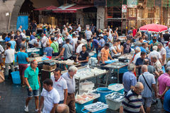 Mercado de pescados, Catania Fotos de archivo libres de regalías