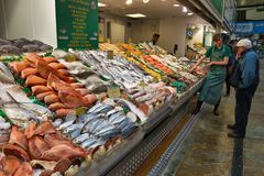 Mercado de pescados de Leeds Imagen de archivo libre de regalías