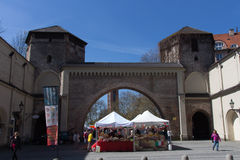 Mercado de produtos alimentares italiano no Tor de Sendlinger em Munich, 2015 Imagens de Stock Royalty Free