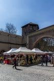 Mercado de produtos alimentares italiano no Tor de Sendlinger em Munich, 2015 fotografia de stock royalty free