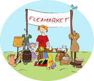 Mercado de pulgas stock de ilustración